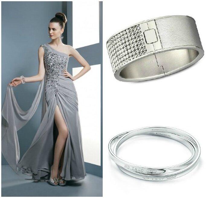 Vestido plata de noche con cristales Demetrios, el brazalete superior, Swarovski, a continuación, pulseras iffany T & Co.