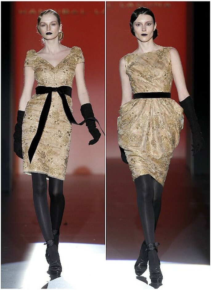 Vestidos cóctel en color oro viejo, Hannibal Laguna otoño-invierno 2012-2013