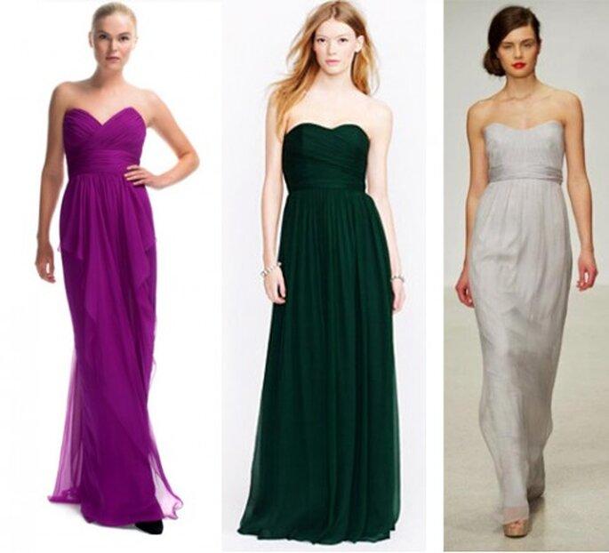 Vestidos de fiesta strapless con forma de corazon de moda en 2013 - Foto Moda Operandi, JCrew y Amsale Facebook
