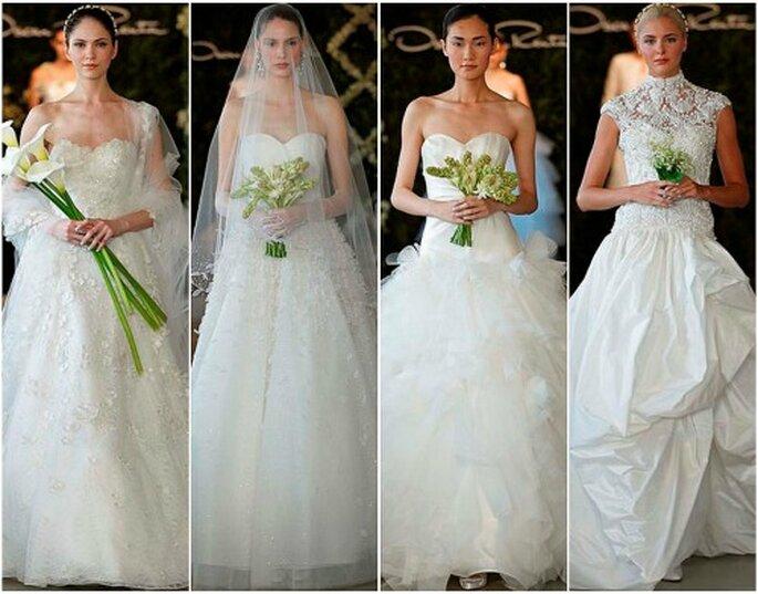 Splendidi gli abiti in bianco della Collezione 2013 di Oscar de la Renta.Foto Dan Lecca