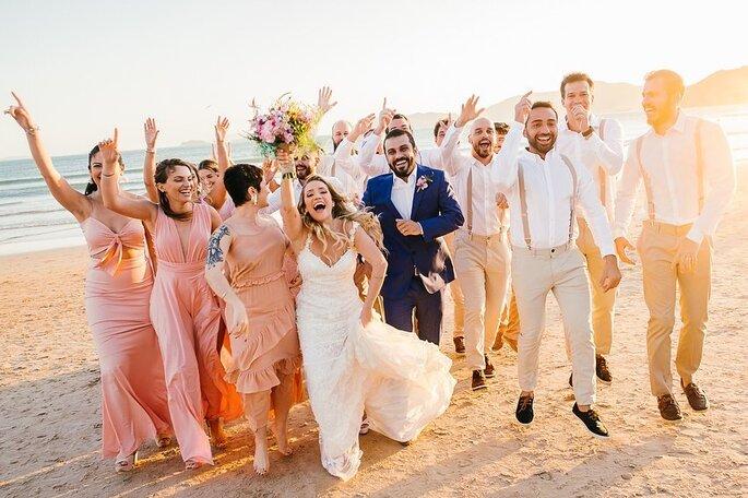 Céu de Tule noivos e padrinhos