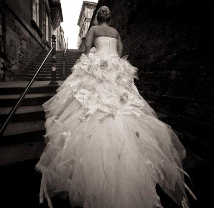 Retro di un abito da sposa di Ian Stuart. Foto Find That Dress