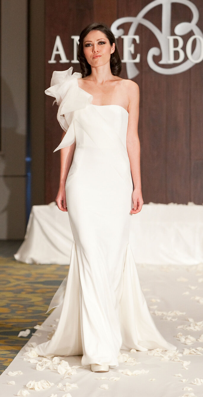 Modron, Divine Mother Goddess: Silk 4-ply stretch crepe with organza layers on one-shoulder gown, $1,365.