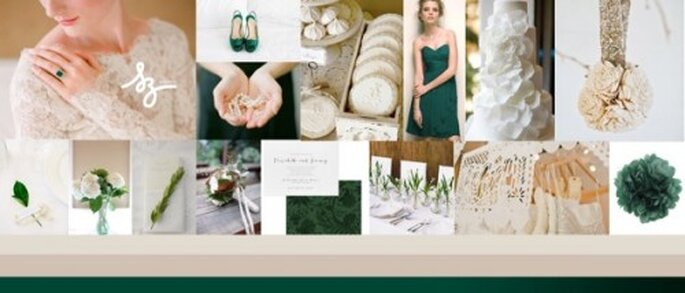 Collage de inspiración para decorar tu boda con el color verde intenso - Foto Diseño Raisa Torres para SZ Eventos. Style Me Pretty, Sweet Violet Bride, Davids bridal, Lovely Bridal, weddingworkshop.co.uk, snippetanddink