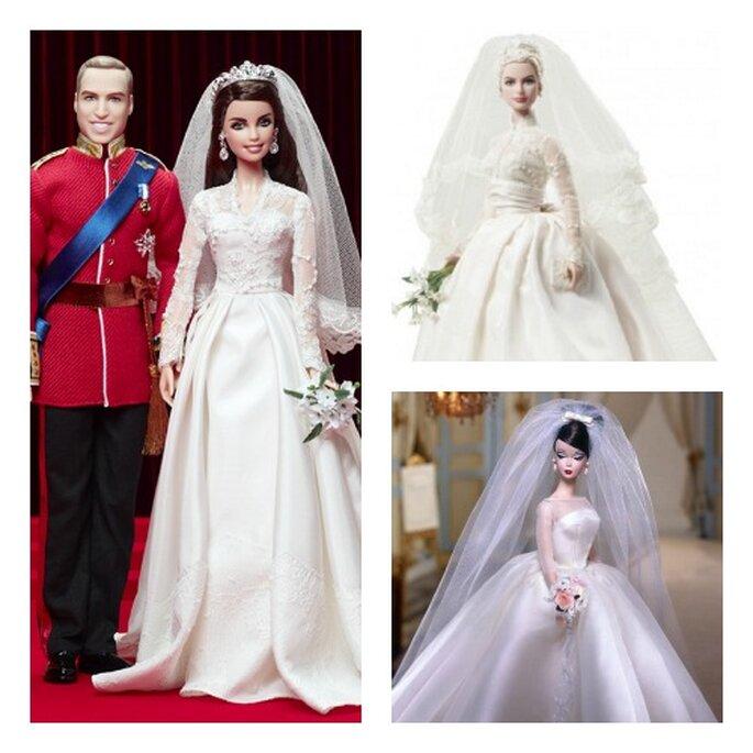 Will e Kate, Grace Kelly, e Maria Teresa reinterpretati da Barbie nelle loro nozze reali. Foto: www.barbiecollector.com