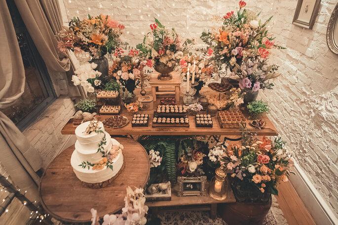 mesa de doces rustica