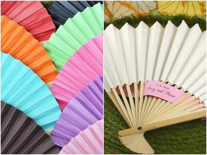 Abanicos de papel en diferentes colores. Fotos: Tienda Virtual Invita