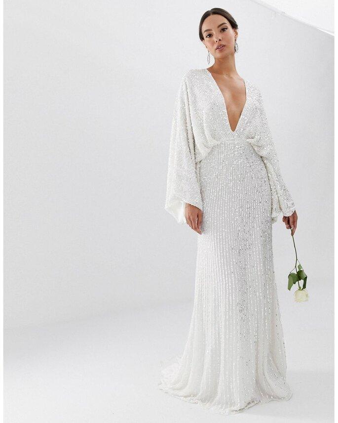 Vestido de novia moderno y barato de lentejuelas y escote pronunciado con mangas largas