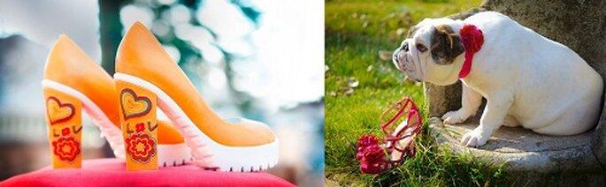 Per una sposa che non ha paura di osare, scarpa con tacco decorato. Foto: Helsar