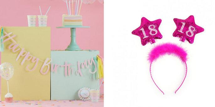 Feliz cumpleaños guirnalda pastel
