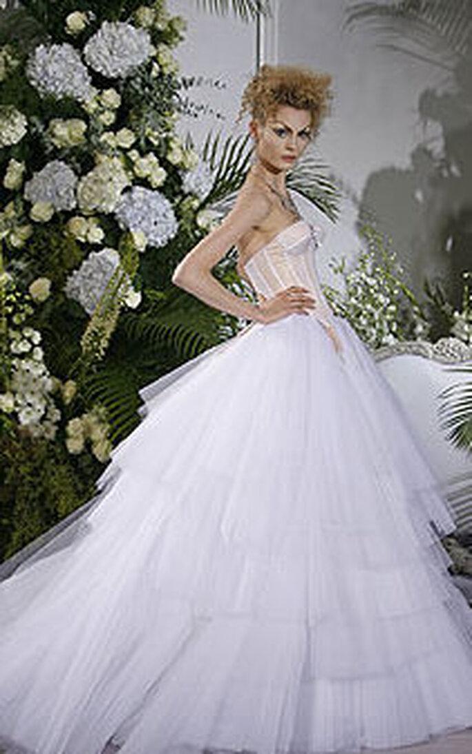 Abito Chanel-Dior - modello principessa, con ampia gonna in tulle a balze e corpino stile bustino