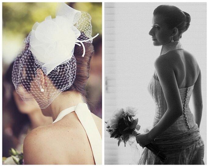 Peinado de novia alto con el cabello recogido.