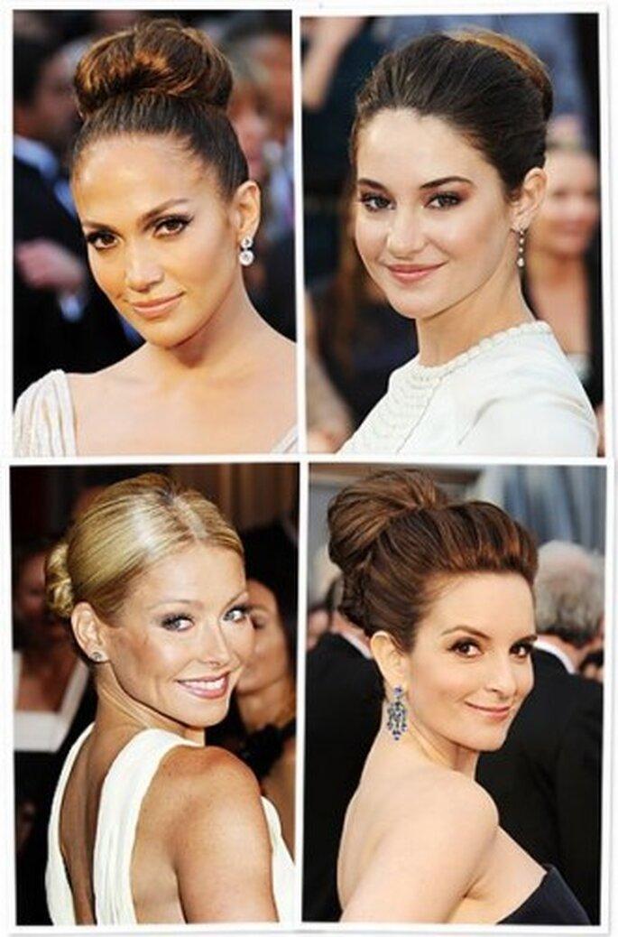 Peinados recogidos se llevaron en los Oscar 2012.  Instyle.com