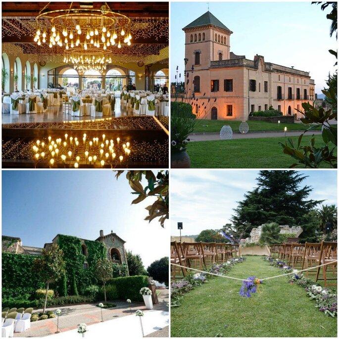 Masías para bodas en Barcelona. Foto: Catell de L'Olvier, Palacete Heretat Sabertes, Mas de Sant Lleí y Masía Vallformosa
