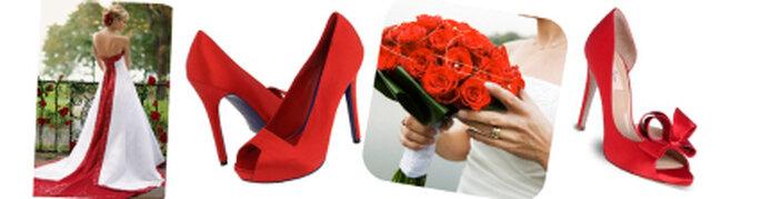 Combina tu calzado con el vestido de novia o simplemente el bouquet para darle un toque de color a ese día especial