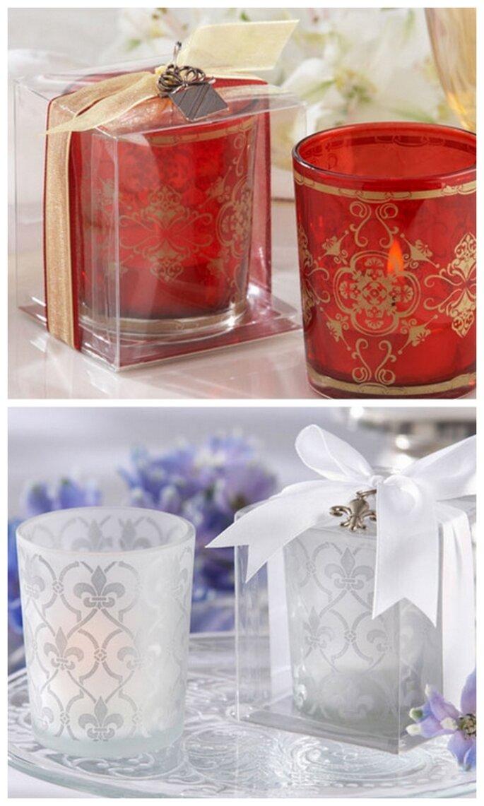 Decoraci n con velas y recuerdo de boda para invitados for Para invitados