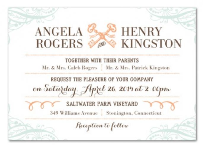 Invitación de boda estilo vintage diseñada con colores pastel - Foto Wedding Ppaer Divas