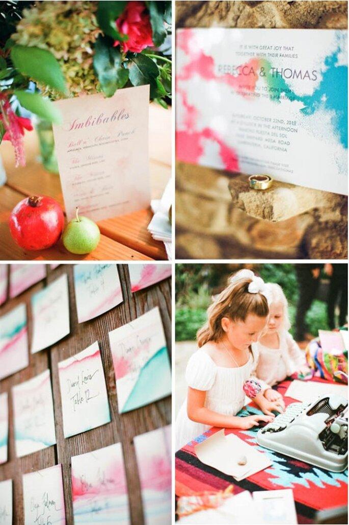 Una invitación de boda ylindos mensajes con decoraciones de acuarela - Foto Nancy Neil