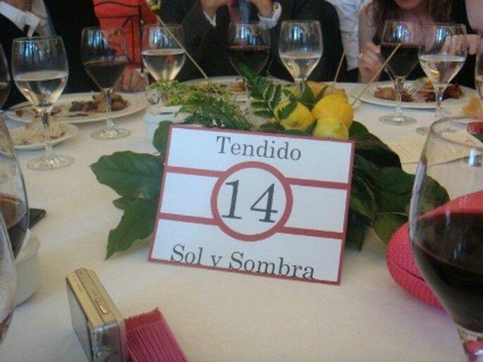 Las mesas tenían nombres de tendidos