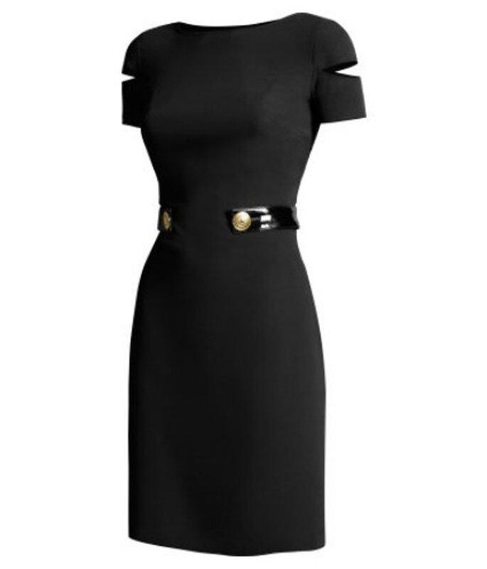Abito corto e attillato in seta con cinturini laccati sui fianchi con grandi bottoni dorati. Versace for H&M € 129,00