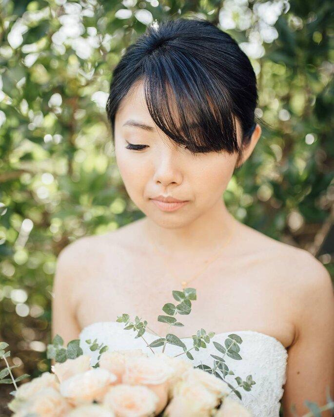 Penteado de noiva com franja