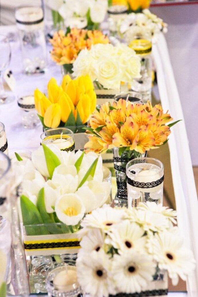 żółte kwiaty na weselu