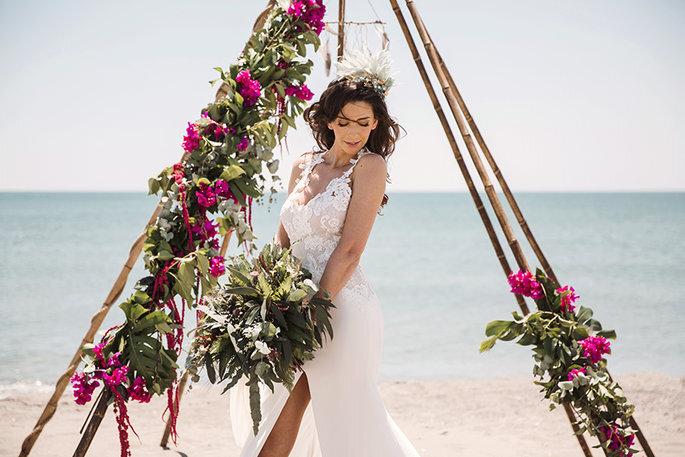 Telas para vestidos de novia en la playa