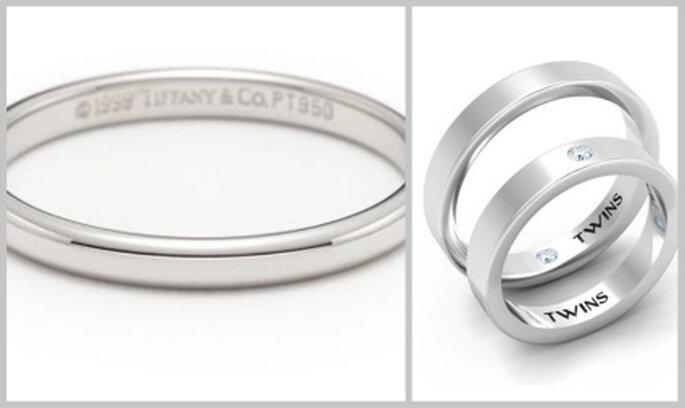 Alianzas en oro blanco de Tiffany y Twins