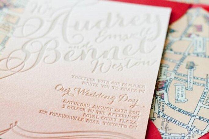 Invitaciones de boda estilo ombré de moda en 2013