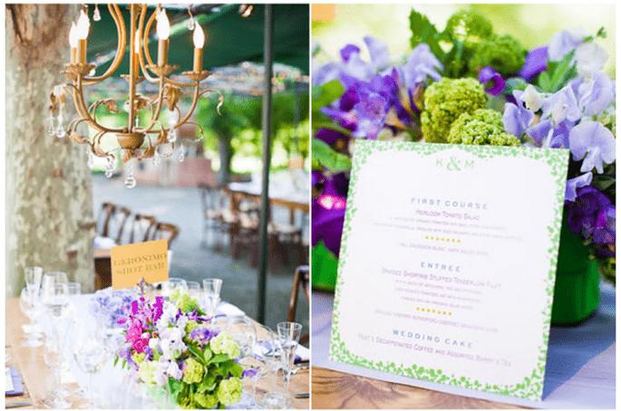 Decoración de boda con elegantes candelabros - Foto Kate Webber