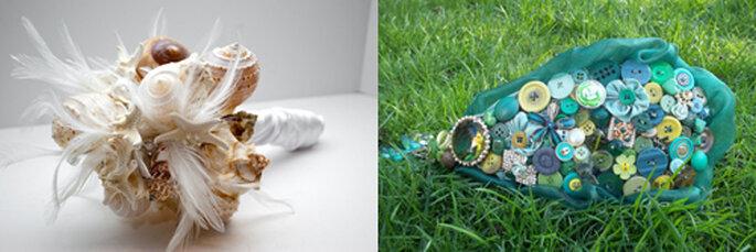 Mazzi non mazzi, i bouquet realizzati con materiali alternativi, per un tocco davvero particolare che non passerà inosservato. Da sinistra bouquet di conchiglie (Etsy.com) e bouquet di bottoni. Foto: ameliste.it