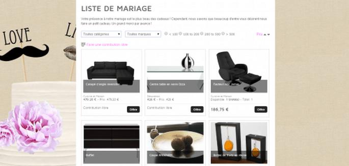 Liste de mariage traditionnelle en ligne