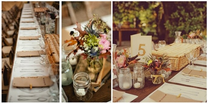 Estilo rústico en las mesas. Fotos: Heather Gilson & Jon Almeda