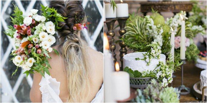 Exemplo buquê de noiva e decoração
