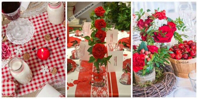 Photo à gauche : Chemin de table Vichy - Ma Plus Belle Déco / Photo au centre : Decodefete.com / Photo à droite : Okiss Wedding Design
