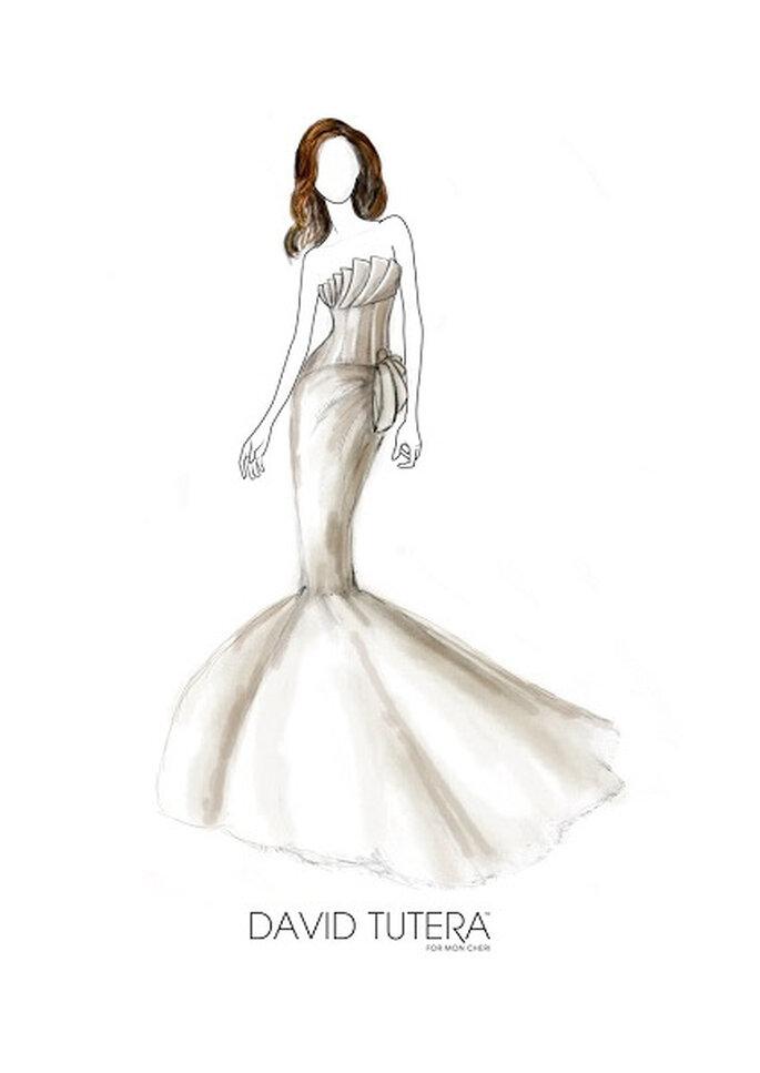 Esbozo de vestido de novia para Angelina Jolie, de David Tutera. Foto: itsabrideslife.com