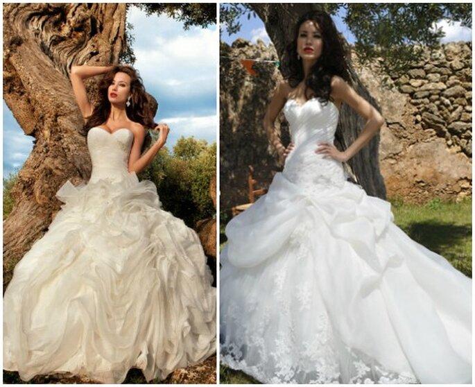 Gonne vaporose e romantiche per questi due modelli Demetrios 2013 Bridal Collection. Foto: www.demetriosbride.com