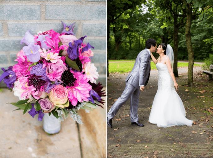Ramos de novia en vino, violeta y lila. fotografía Anoushka Rokebrand