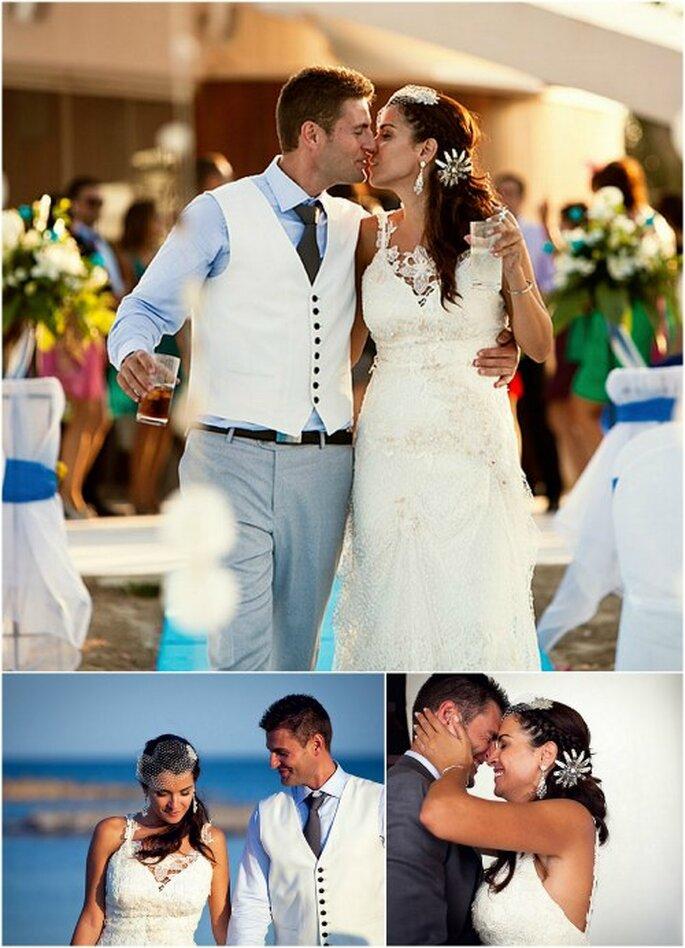 El azul del mar ofrece un escenario perfecto para una boda luminosa. Foto: Joaquín Tocornal