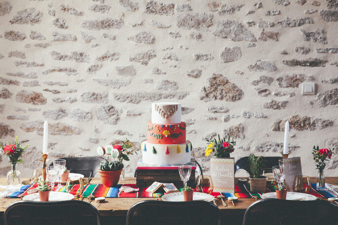 Décoration de table de mariage hippie