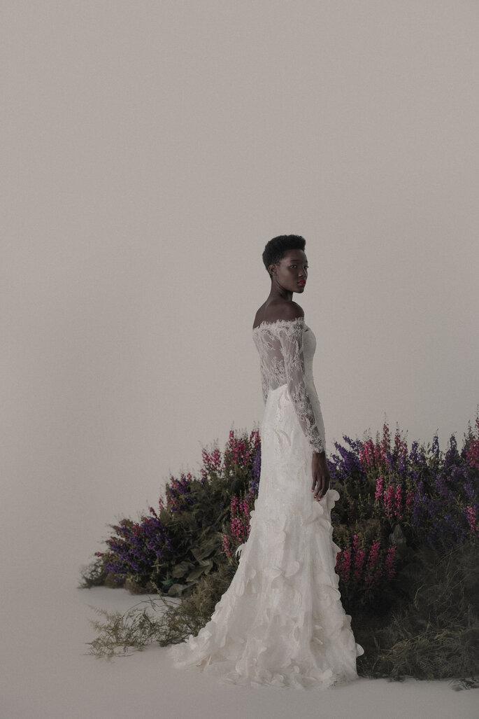 vestido de noiva com manga longa e transparência