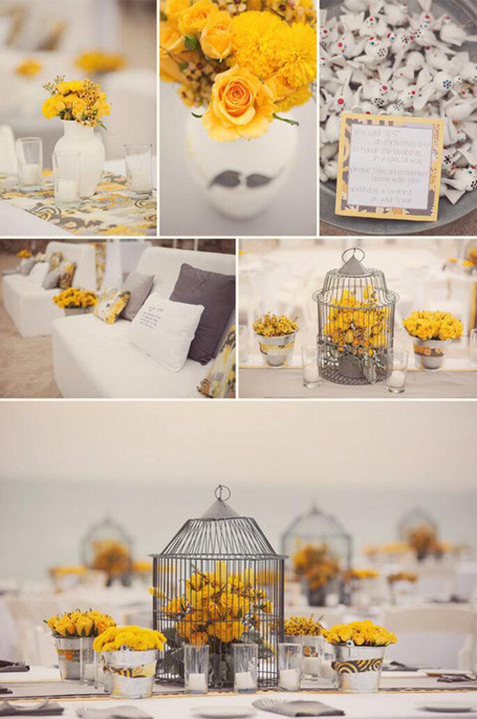 Une décoration de mariage vintage - photos : Stilingos šventinės dekoracijos