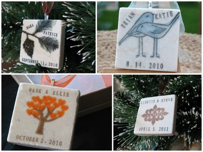Custom Ornament Wedding Favors by Etsy seller AngelEllie: $57.50 for a set of 25.