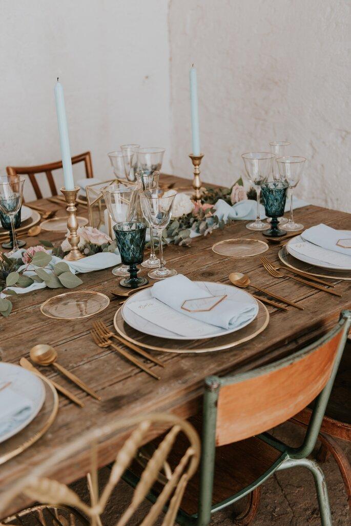 decoracion mesa boda industrial
