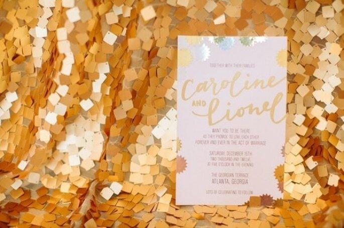 Glitter y lentejuelas en la decoración de tu boda - Foto Haley Sheffield