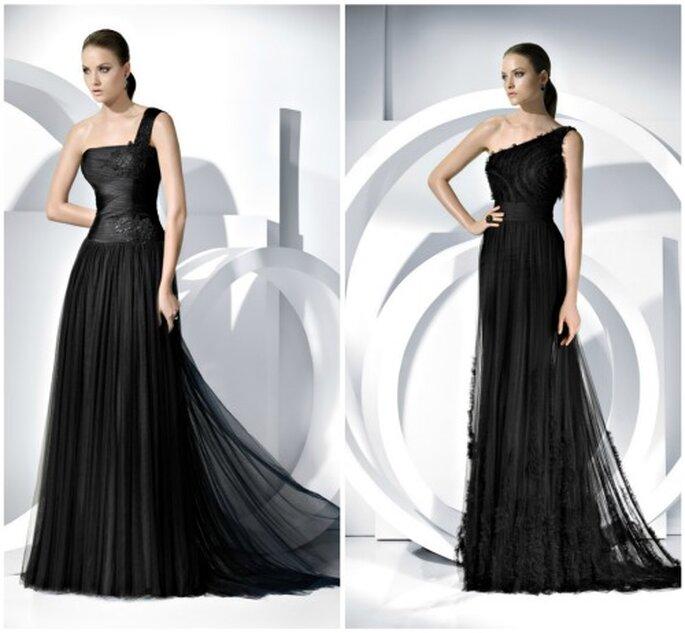 El negro es un color que siempre está presente en los vestidos de fiesta. Foto: Pronovias