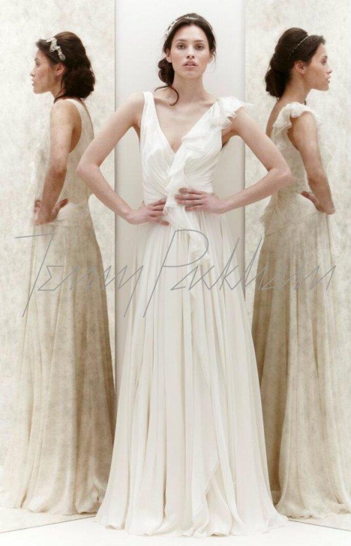 Vestido de novia con holanes en un hombro - Foto Jenny Packham