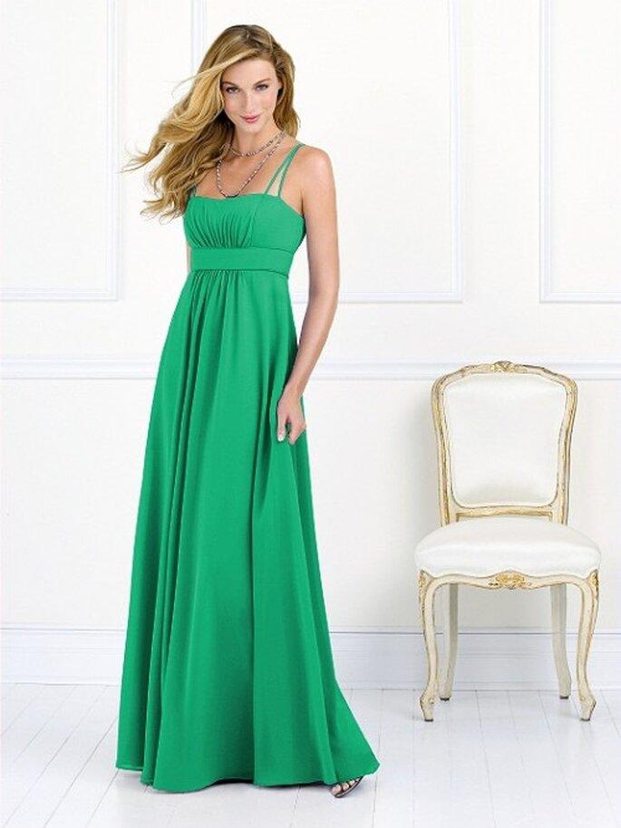 vestido largo con tirantes para dama de boda en color verde esmeralda - Foto Dessy