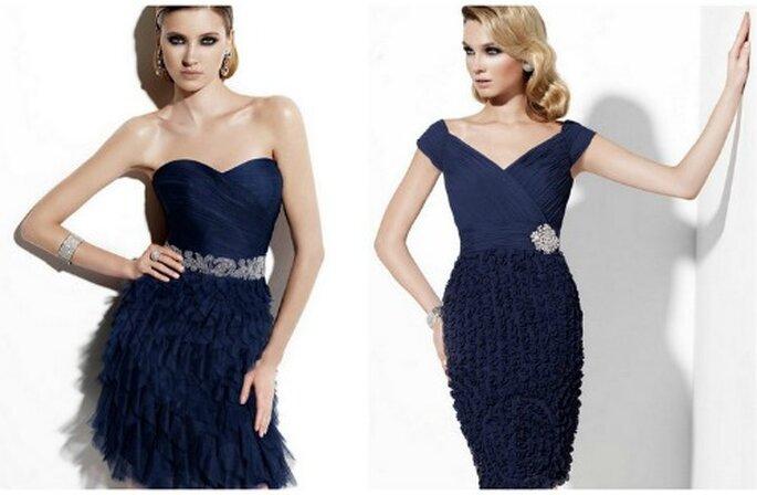 Due modelli corti ma estremamente eleganti. Abiti da cerimonia SAN PATRICK Collezione 2012