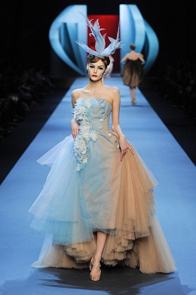 Abito azzuro e bianco Christian Dior